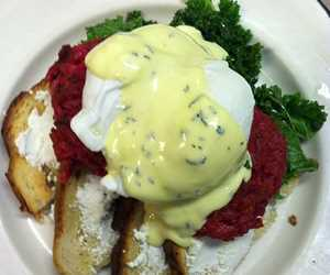Beet Rissotto Cakes with Maple Glazed Kale & Bernaise
