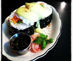 California Roll Benedict with Wasabi Hollandaise
